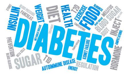 autoimmune: Diabetes word cloud on a white background. Illustration