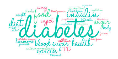 Diabetes word cloud on a white background. Vettoriali