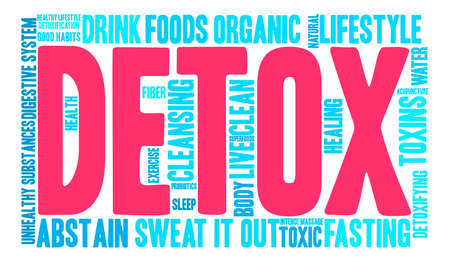 Detox word cloud on a white background.