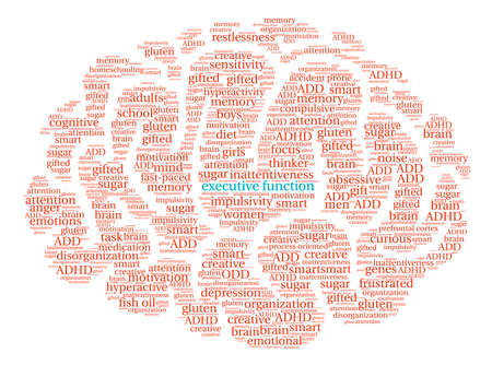 hyperactive: Executive Function Brain word cloud on a white background.