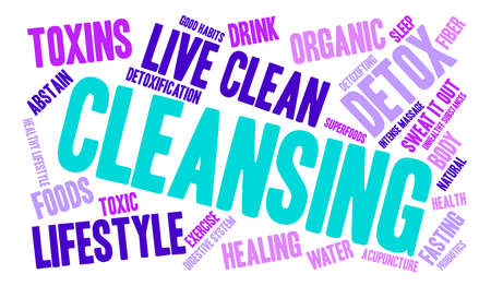 detoxification: Cleansing word cloud on a white background.