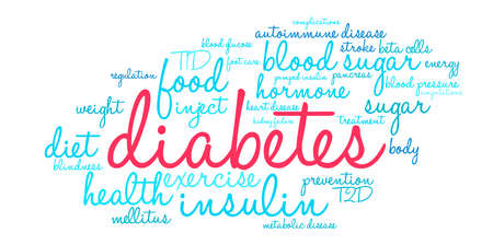 pumped: Diabetes word cloud on a white background. Illustration