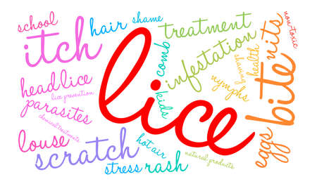 hair treatment: Lice word cloud on a white background.
