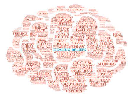 Healing Beliefs Brain word cloud on a white background. Çizim
