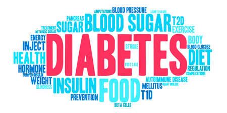 metabolic disease: Diabetes word cloud on a white background. Illustration