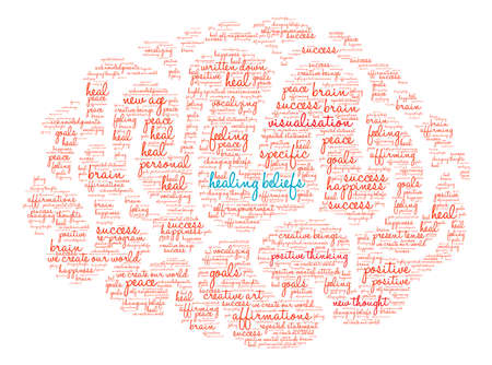 beings: Healing Beliefs Brain word cloud on a white background. Illustration