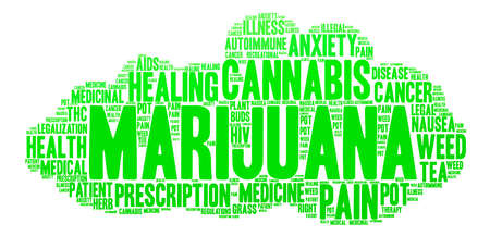 Marijuana word cloud on a white background. Vettoriali
