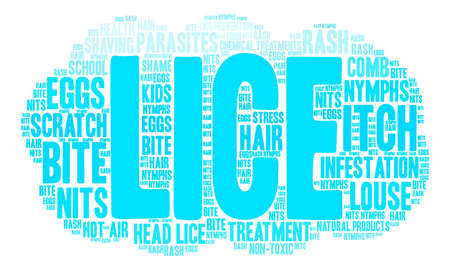 Lice word cloud on a white background.