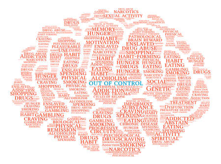 dysfunctional: Out Of Control Addiction Brain Word Cloud On a White Background.