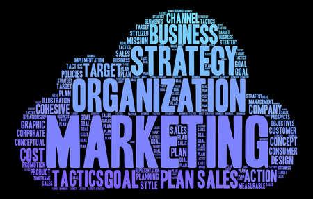 Marketing word cloud op een zwarte achtergrond. Stockfoto