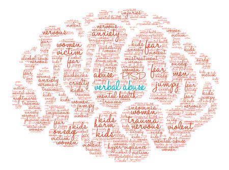 maltrato: Abuso verbal palabra cerebro nube sobre un fondo blanco. Foto de archivo