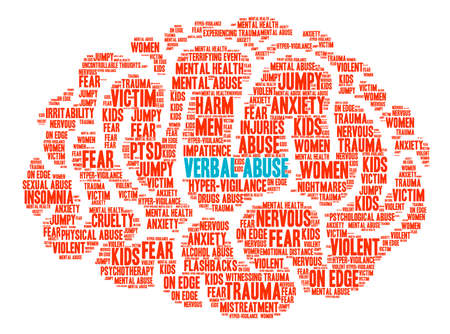 단어 남용 흰색 배경에 두뇌 단어 구름입니다. 스톡 콘텐츠