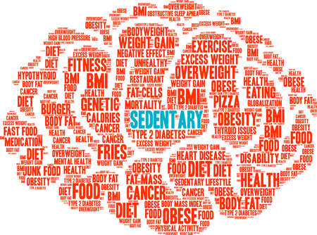 sedentary: Sedentary word cloud on a white background.