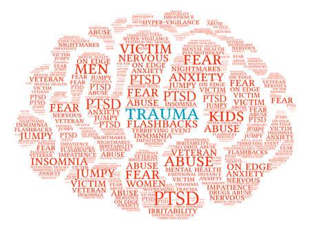 vigilance: Trauma Brain word cloud on a white background.