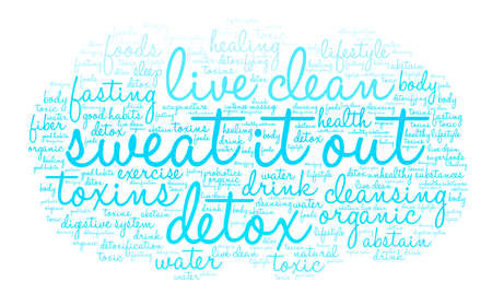 Sweat It Out word cloud on a white background. Stock Photo