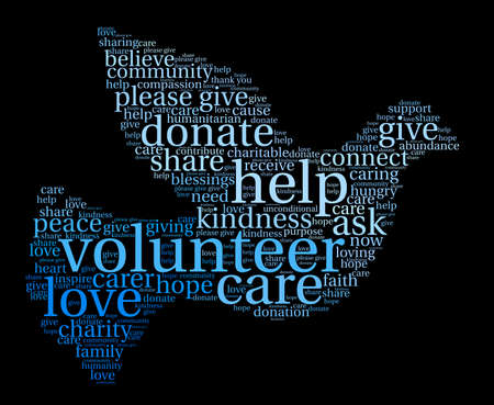 Voluntarios nube de palabras sobre un fondo negro.