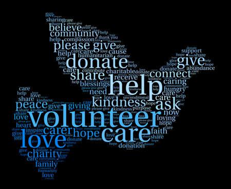 Volunteer word cloud on a black background.