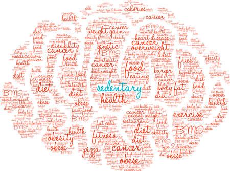 sedentario: Sedentaria nube de palabras sobre un fondo blanco. Foto de archivo