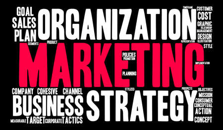 Marketing word cloud on a black background.