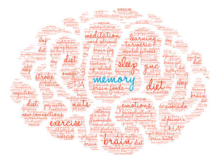 Memory Brain word cloud on a white background.