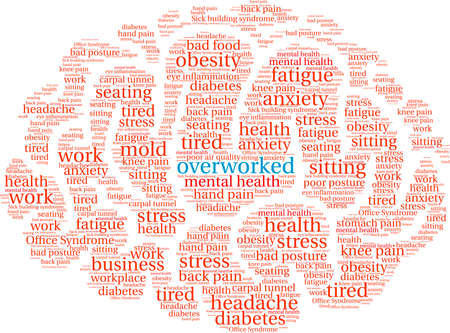 Overworked Brain word cloud on a white background.