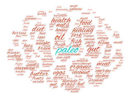 food absorption: Paleo Brain word cloud on a white background. Stock Photo