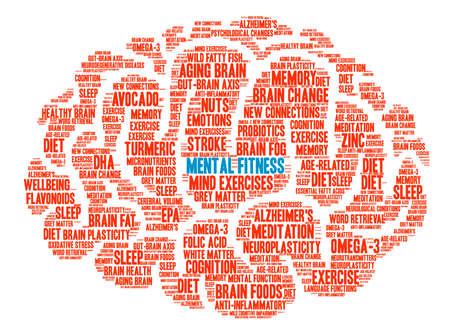cognicion: Mental Fitness Brain word cloud on a white background. Foto de archivo