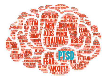 PTSD Brain Word Cloud on a white background. 版權商用圖片