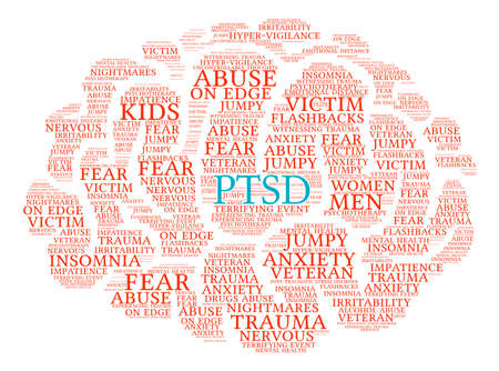 uncontrollable: PTSD Brain Word Cloud on a white background. Stock Photo