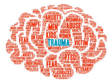 Trauma Brain woord wolk op een witte achtergrond. Stockfoto - 67348634