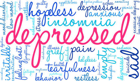 Depressed word cloud on a white background. Ilustração