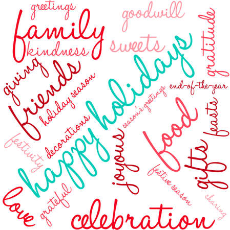 Happy word cloud on a white background.