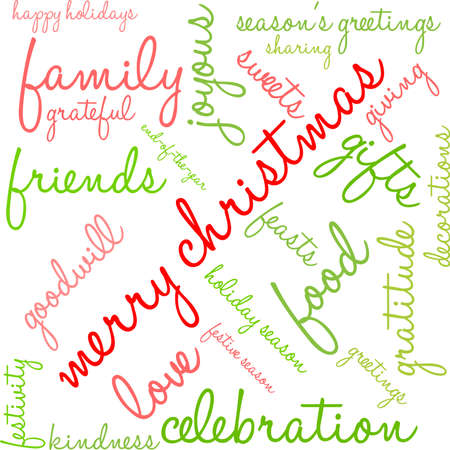 Merry Christmas word cloud on a white background. Illustration