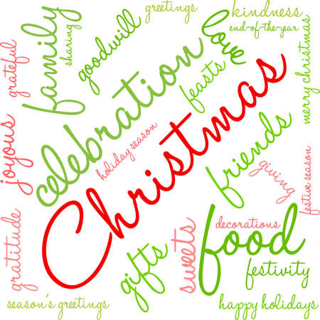Christmas word cloud on a white background.
