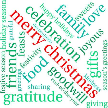 Merry Christmas word cloud on a white background. Illusztráció