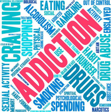 Addiction word  cloud on a white background. Illusztráció