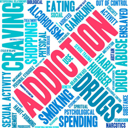 response: Addiction word  cloud on a white background. Illustration