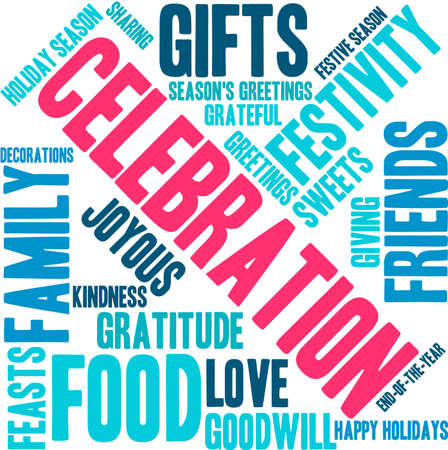 goodness: Celebration word cloud on a white background.