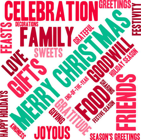 Holiday Season word cloud on a white background. Çizim