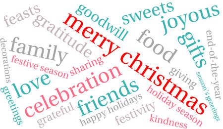 Merry Christmas word cloud on a white background. Çizim