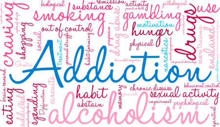 Addiction word  cloud on a white background. Vectores