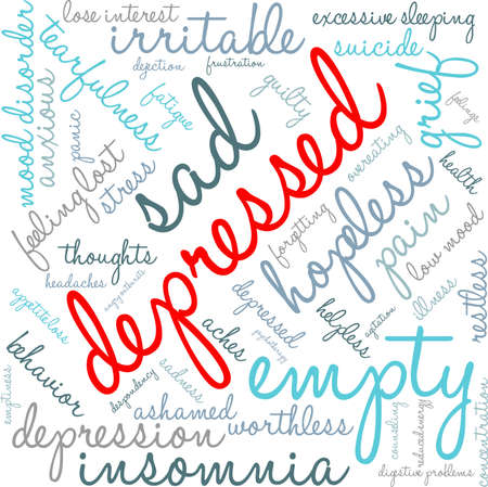 Depressed word cloud on a white background. Illustration