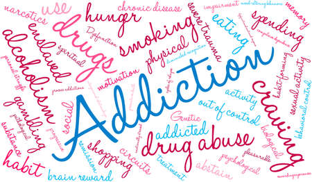 abstain: Addiction word  cloud on a white background. Illustration