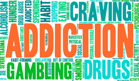 interpersonal: Addiction word  cloud on a white background. Illustration