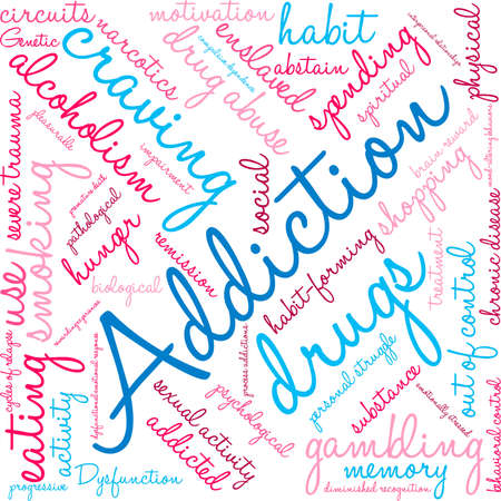remission: Addiction word  cloud on a white background. Illustration