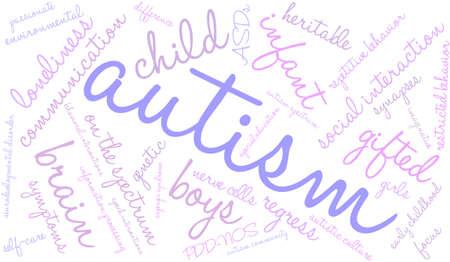白い背景の上の自閉症の単語の雲。