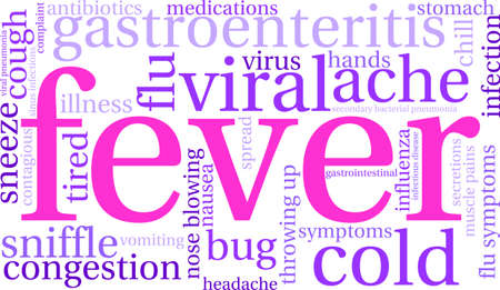 Fever word cloud on a white background.