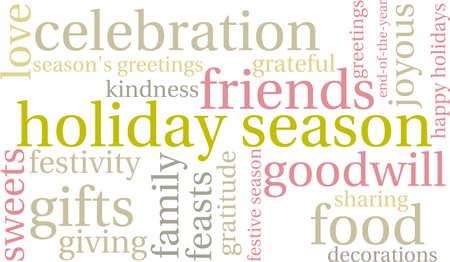 Holiday Season word cloud on a white background. Illusztráció