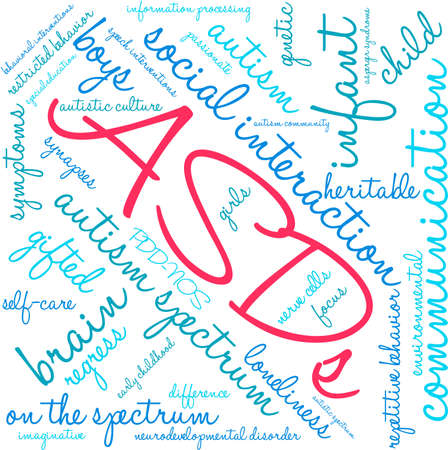 ASDs Word Cloud on a white background. Illustration
