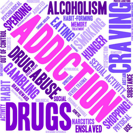 Addiction word  cloud on a white background. Vettoriali